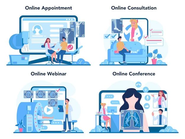 Servizio online radiologo o set di piattaforme.
