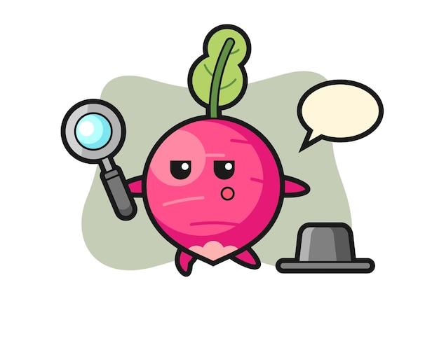 Personaggio dei cartoni animati di ravanello che cerca con una lente d'ingrandimento, design in stile carino per maglietta, adesivo, elemento logo
