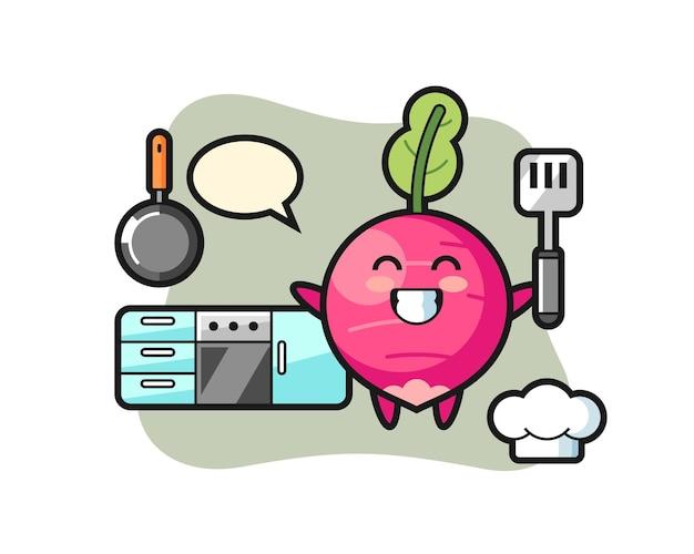 Illustrazione del personaggio di ravanello mentre uno chef cucina, design in stile carino per maglietta, adesivo, elemento logo