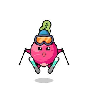 Personaggio mascotte ravanello come giocatore di sci, design in stile carino per maglietta, adesivo, elemento logo