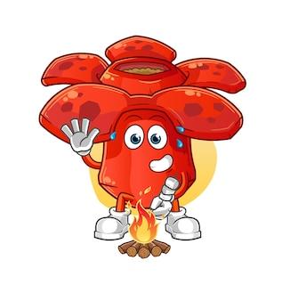 Rafflesia arrostendo marshmallow. mascotte mascotte dei cartoni animati