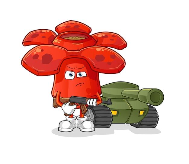 Soldato di rafflesia con mascotte del fumetto del carro armato. mascotte mascotte dei cartoni animati