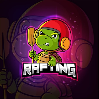 Rafting tartaruga mascotte esport logo colorato