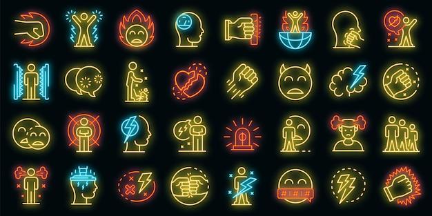 Icone di rabbia impostate. contorno set di icone vettoriali rabbia colore neon su nero