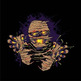 La rabbia dell'illustrazione della mummia per il design della maglietta