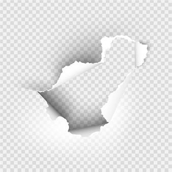 Ragged hole strappato in carta strappata su sfondo trasparente