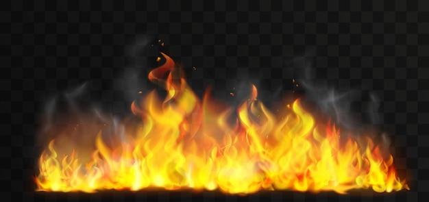 Furioso fuoco realistico su sfondo stile transperant