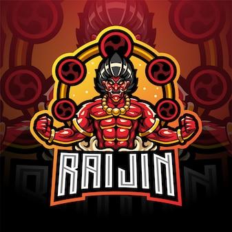 Design del logo mascotte raijin esport