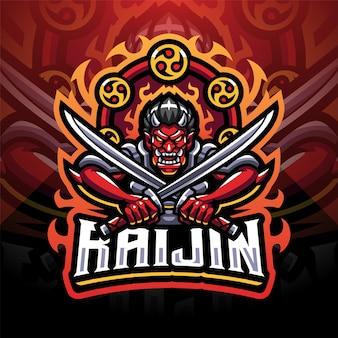 Raijin esport mascotte logo design