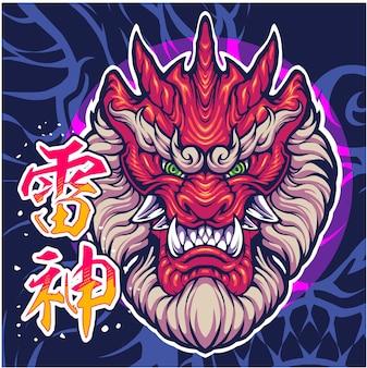 Disegno del logo della mascotte di raijin