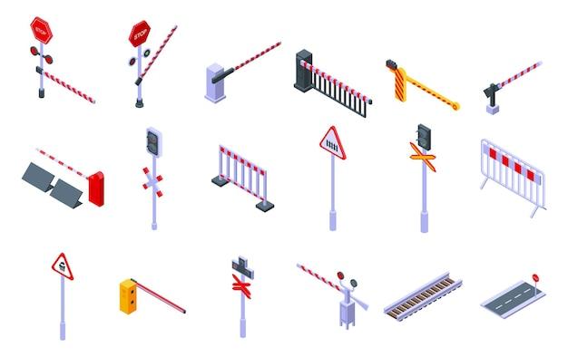Set di icone di barriera ferroviaria. insieme isometrico delle icone della barriera ferroviaria per il web design isolato su sfondo bianco