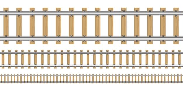 Ferrovia nell'illustrazione differente di dimensioni isolata su fondo bianco