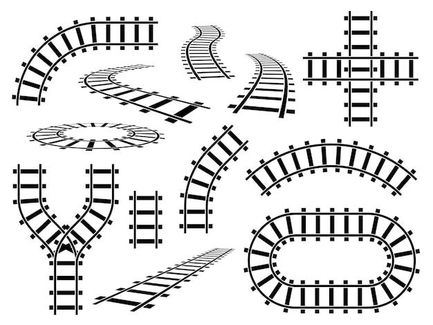 Elementi ferroviari. binari curvi, diritti e ondulati. rotaie ferroviarie in prospettiva e vista dall'alto, set di vettori per la costruzione di strade della metropolitana di barre d'acciaio