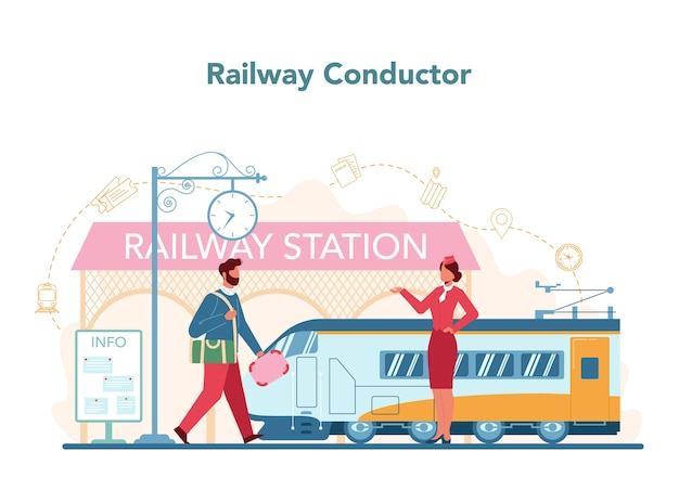 Illustrazione di concetto di conduttore ferroviario