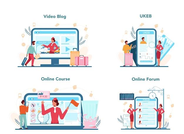 Servizio online del conduttore ferroviario o set di piattaforme