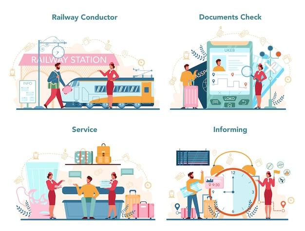 Conduttore ferroviario impostato in design piatto