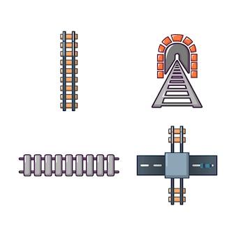 Set di icone ferroviarie. l'insieme del fumetto delle icone di vettore della ferrovia ha messo isolato