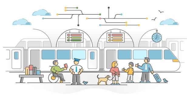 Rete ferroviaria come trasporto ferroviario con il concetto di struttura della stazione passeggeri