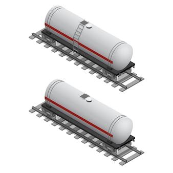 Serbatoio ferroviario per carburante in vista isometrica