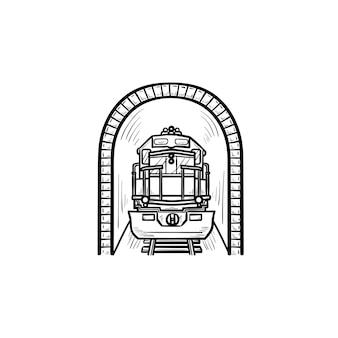 Tunnel ferroviario con icona di doodle di contorni disegnati a mano del treno. trasporto pubblico della metropolitana, concetto di stazione della metropolitana