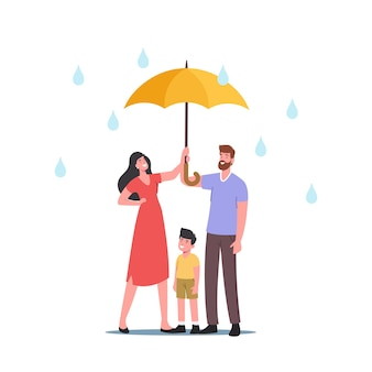 Pioggia, concetto di umidità dell'aria. genitori con bambino che tiene l'ombrello che camminano sotto la pioggia, parlano, si godono le relazioni, i personaggi trascorrono del tempo, si rilassano all'aperto. cartoon persone illustrazione vettoriale