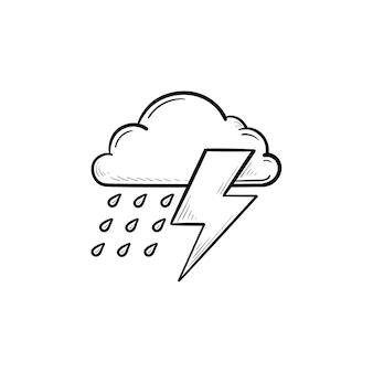Nuvola di pioggia con icona di doodle di contorno disegnato a mano fulmine. giornata di pioggia, tuoni e tempeste, concetto di tempo