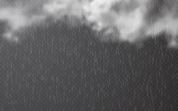 Gocce di pioggia con nuvole su sfondo trasparente