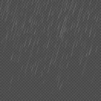 Effetto angolare realistico isolato pioggia. modello di pioggia di natura trasparente.