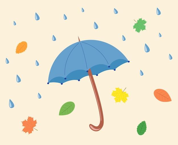 Pioggia e ombrellone. concetto di autunno autunno. foglie d'acero. illustrazione vettoriale.