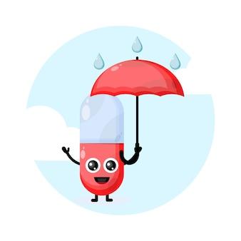 Carattere di pillole capsula ombrello pioggia carino
