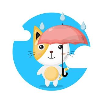 Simpatico personaggio gatto ombrello pioggia