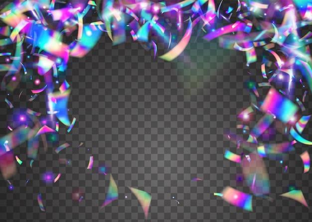 Sfondo arcobaleno. coriandoli di carnevale. glitter viola da discoteca. foglio di cristallo. volantino lucido. arte delle vacanze. modello realistico del partito. trama al neon. sfondo blu arcobaleno