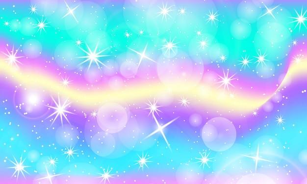 Sfondo arcobaleno. modello unicorno in colori principessa.