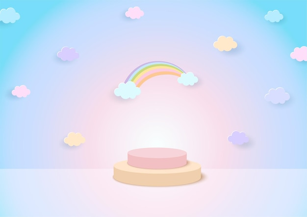 Sfondo arcobaleno con display stand studio