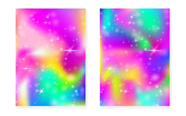 Sfondo arcobaleno con sfumatura principessa kawaii. ologramma di unicorno magico. set di fate olografiche. copertina fantasia brillante. sfondo arcobaleno con scintillii e stelle per invito a una festa ragazza carina.