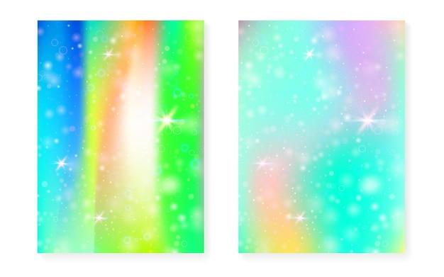 Sfondo arcobaleno con sfumatura principessa kawaii. ologramma di unicorno magico. set di fate olografiche. copertina di fantasia vibrante. sfondo arcobaleno con scintillii e stelle per invito a una festa ragazza carina.