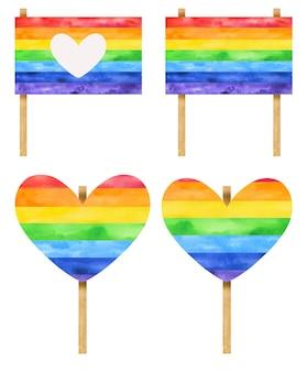 Modello di cartelloni pubblicitari arcobaleno per il mese di orgoglio disegnato a mano in acquerello.