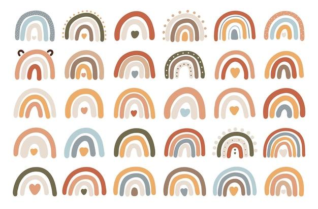 Set grande arcobaleno boho, arcobaleno astratto, vettore di vivaio, illustrazione astratta per bambini, design boho bambino, arcobaleno
