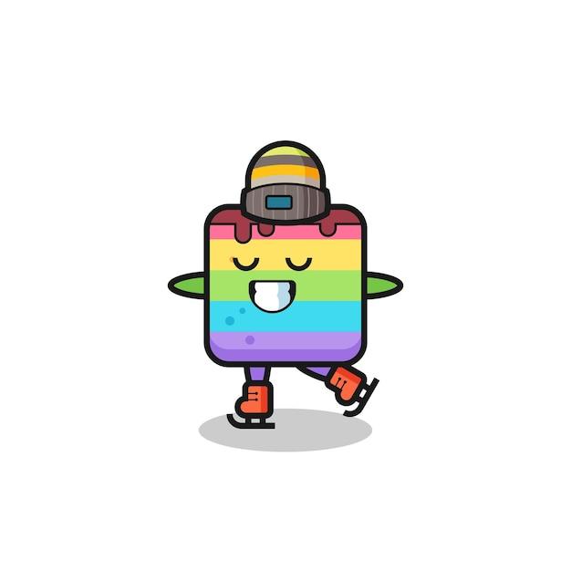 Cartone animato torta arcobaleno come un giocatore di pattinaggio sul ghiaccio che si esibisce, design in stile carino per maglietta, adesivo, elemento logo