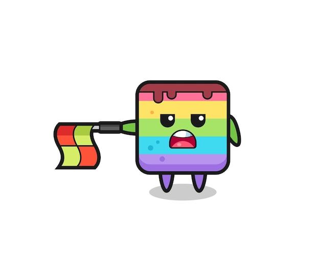 Il personaggio della torta arcobaleno come giudice di linea tiene la bandiera dritta orizzontalmente, design in stile carino per maglietta, adesivo, elemento logo