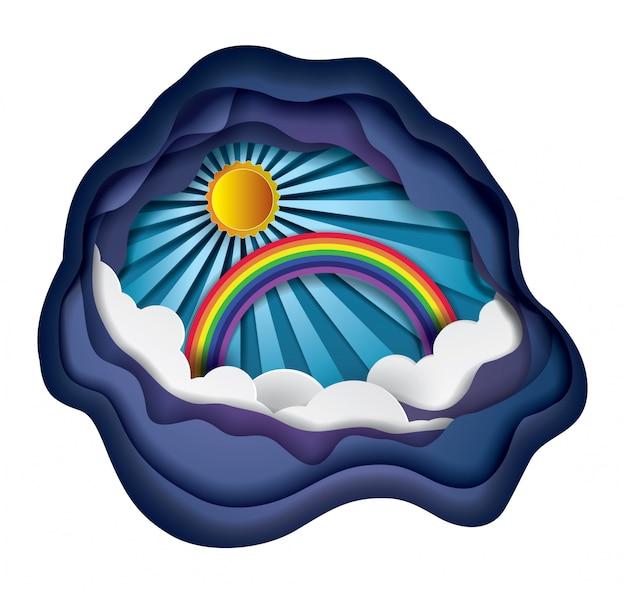 Arcobaleno e nuvole sul cielo, arte di carta e stile artigianale.