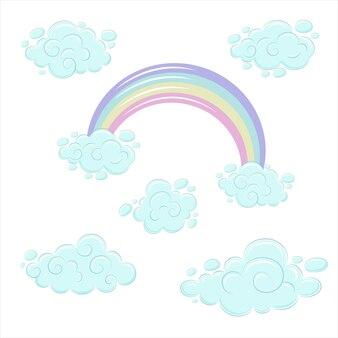 Arcobaleno e nuvole in stile cartone animato. blocco carino con riccioli e arcobaleno multicolore. illustrazione di vettore eps10.