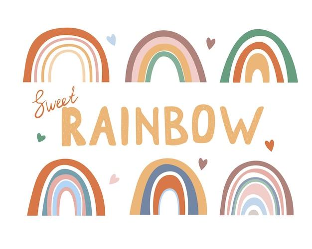 Collezione arcobaleno in stile boho