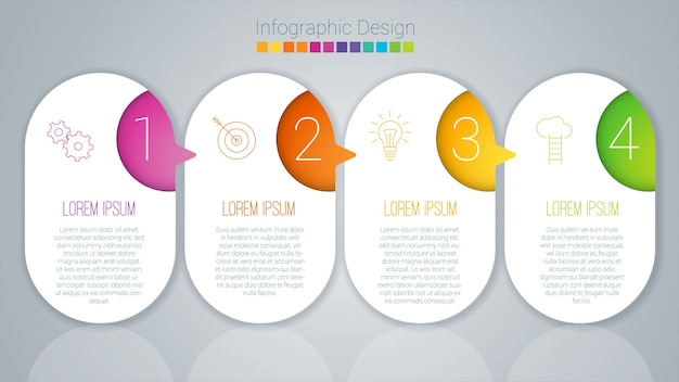 Modello passo dopo passo di infographics di colore arcobaleno.