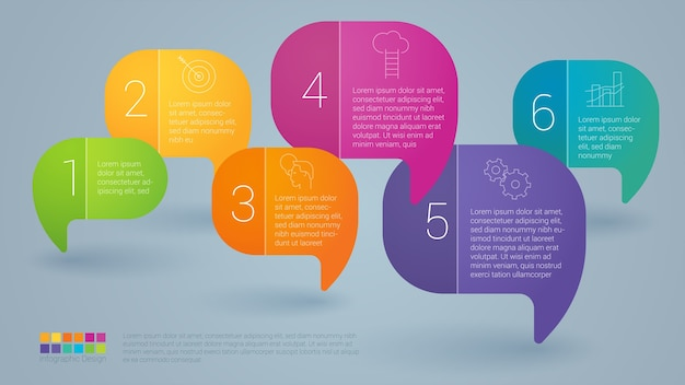 Modello passo dopo passo di infographics di bolla di discorso di colore arcobaleno.