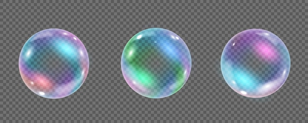 Bolla subacquea colorata arcobaleno isolata su sfondo trasparente. illustrazione realistica di bolle di aria o acqua di sapone con riflessi. collezione di palline di schiuma shampoo lucide iridescenti.