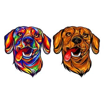 Illustrazione di faccia di cane arcobaleno
