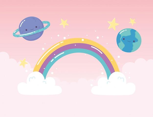Pianeti saturno terra arcobaleno stelle con nuvole cartoon