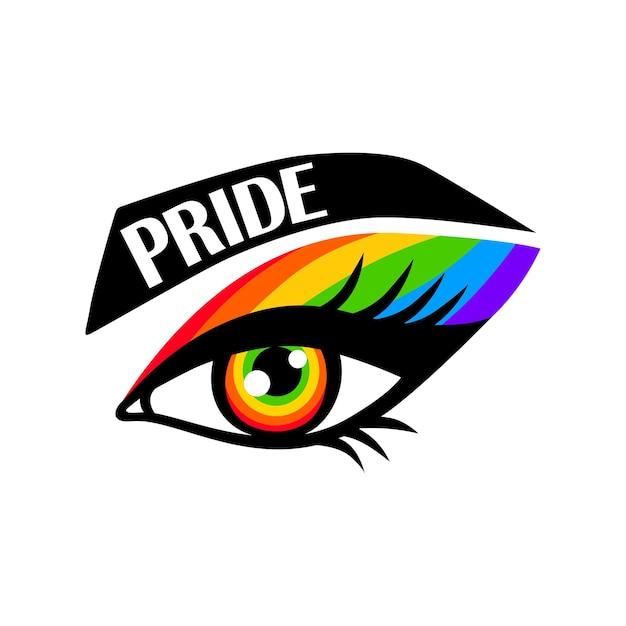 Occhio arcobaleno. orgoglio lgbt. parata gay. citazione di vettore lgbtq isolato su sfondo bianco. concetto di lesbica, bisessuale, transgender.