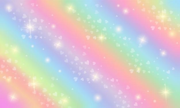 Sfondo fantasia arcobaleno illustrazione olografica in colori pastello cielo con stelle e cuori